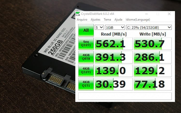 SSD WD BLUE 250GB nos testes do CrystalDiskMark