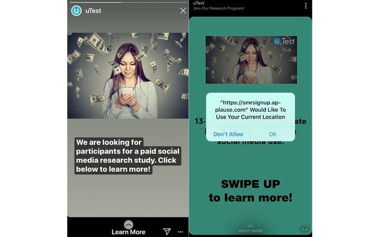 O intermediário do Facebook, uTest, publicou anúncios no Snapchat e no Instagram, atraindo os adolescentes para o programa de pesquisa com a promessa de dinheiro