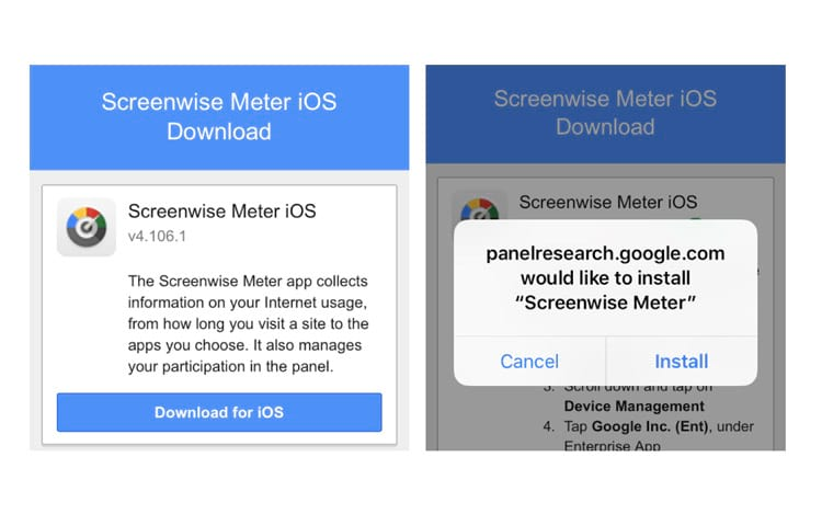 O aplicativo Screenwise Meter do Google para iPhones