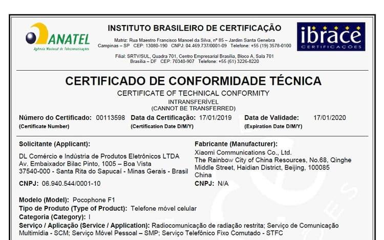 Certificação Anatel -  Xiaomi Pocophone F1