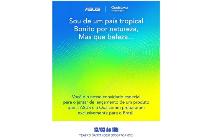 Convite da ASUS enviado a imprensa brasileira para o evento no dia 13 de março em São Paulo.