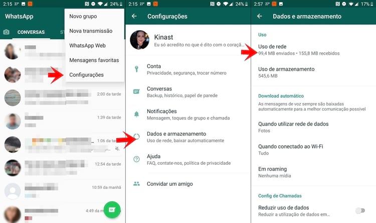 Uso de rede pelo WhatsApp