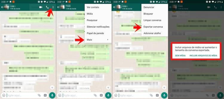 Exportar conversa no WhatsApp