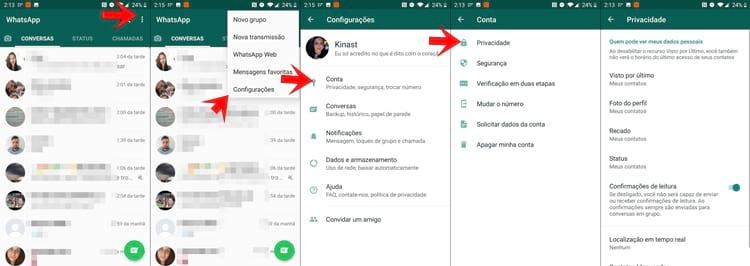 Configurações de Privacidade no WhatsApp
