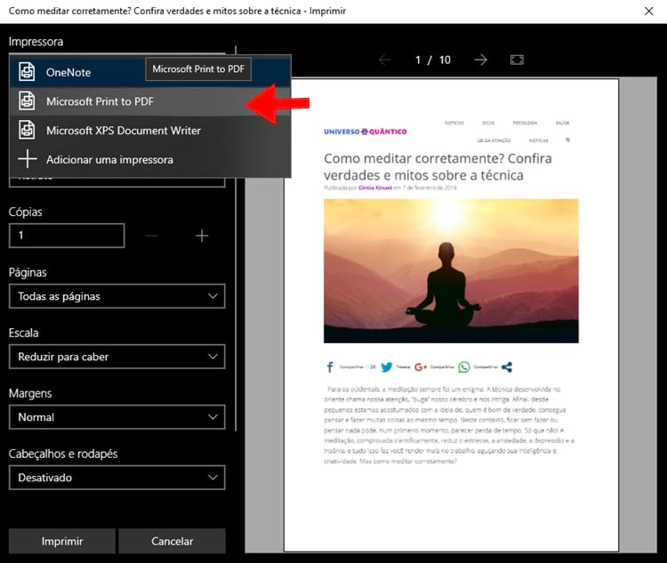 Como salvar em PDF do Microsoft Edge