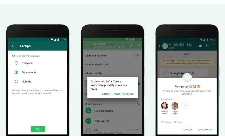 Usuários do WhatsApp terão maior controle sobre os chats em grupo que querem ou não participar.