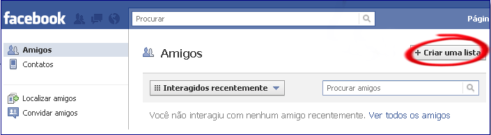 Lista de amigos do Facebook