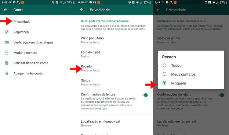 Desativar Recibos de Leitura do WhatsApp