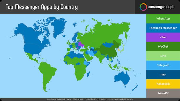 Apps mensageiros mais populares por região do mundo