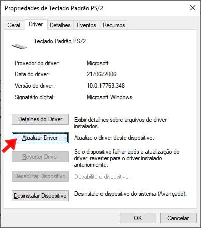 Propriedades > Driver