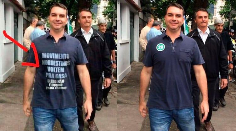 Imagem manipulada no Photoshop para  prejudicar Flávio Bolsonaro, filho do Presidente Jair Bolsonaro.