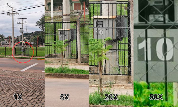 Captura Normal e Zoom de 5X, 20X e 50X