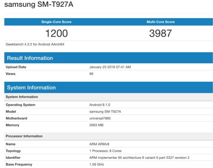 Samsung Galaxy View 2 - GeekBench