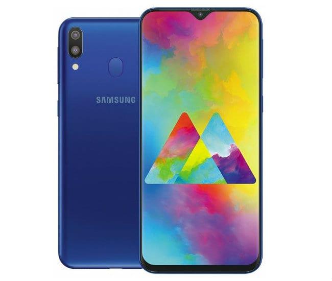 Samsung Galaxy M20 na cor azul