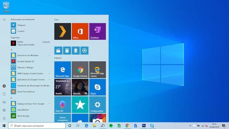 Versão de testes do Windows 10 1903