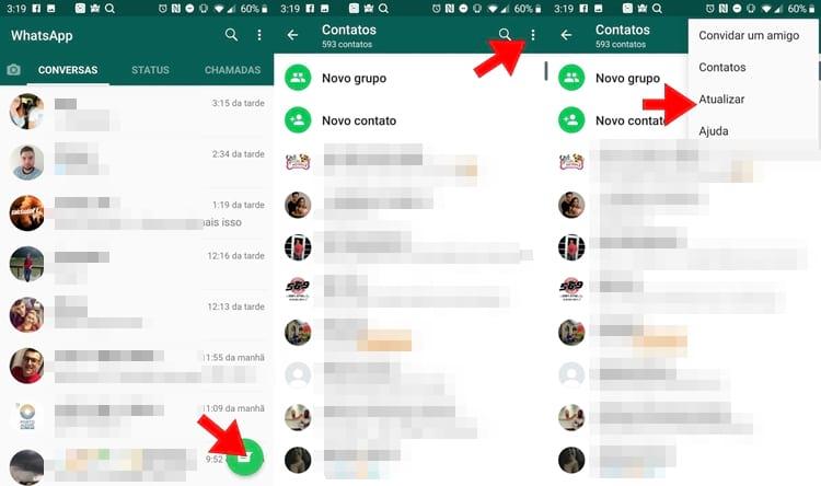 Atualize os contatos no WhatsApp