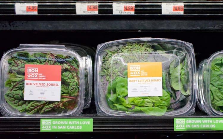 Os três tipos de verduras comercializados no Bianchini