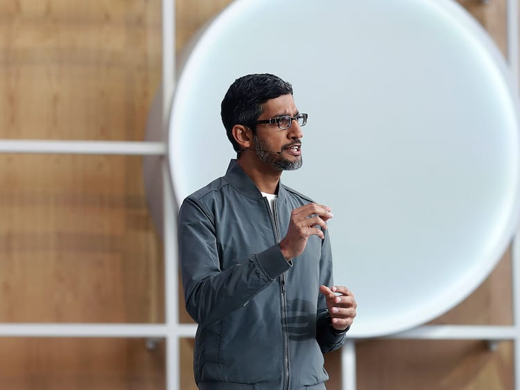 O presidente da empresa, Sundar Pichai, fez um discurso de abertura no primeiro dia de I/O 2019