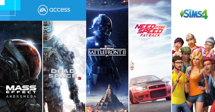 Alguns dos títulos oferecidos pelo EA Acess.