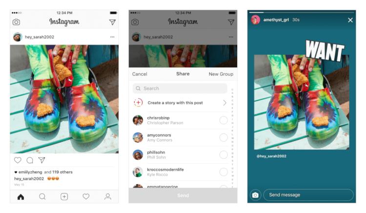 Recurso lançado em 2018 pelo Instagram permite que usuário compartilhe uma postagem do seu feed nos Stories.
