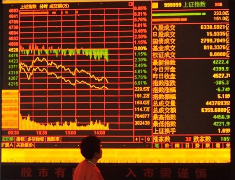 Ações no mercado chinês caindo