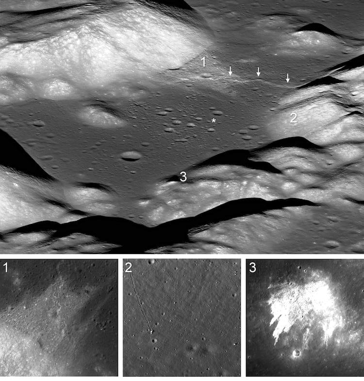 O asterisco representa o local de pouso do Apollo 17. Já os números 1 e 3 mostram deslizamentos de terra em locais distintos, enquanto o 2 mostra pedregulhos que rolaram pela superfície lunar.