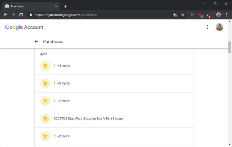 Lista de compras baseada nos recibos do Gmail