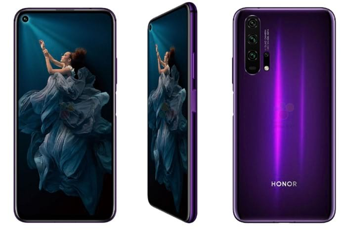 Honor 20 Pro aparece na cor roxa. Detalhe para o sensor biométrico na lateral do dispositivo.