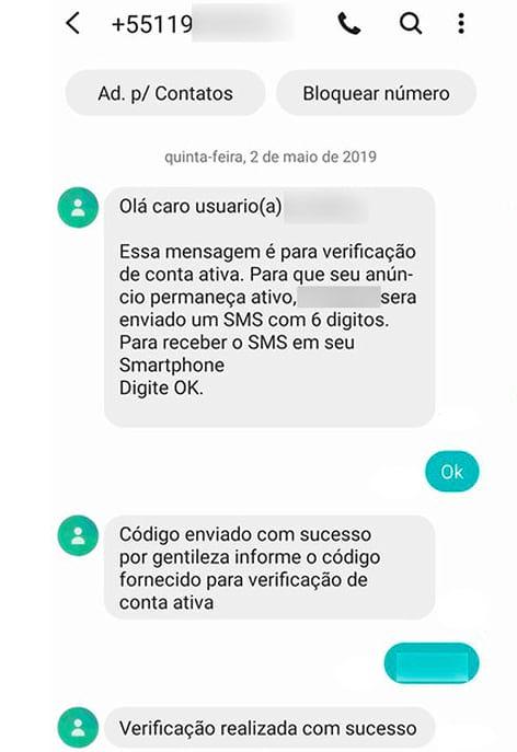 Criminosos inventam pretextos para solicitar código de verificação do WhatsApp. Esta imagem foi divulgada online por uma vítima.