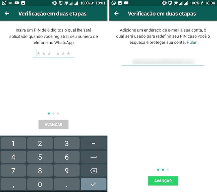 Para ativar a verificação em duas etapas, entre no WhatsApp, clique em configurações, depois em Conta e então Verificação em Duas Etapas.
