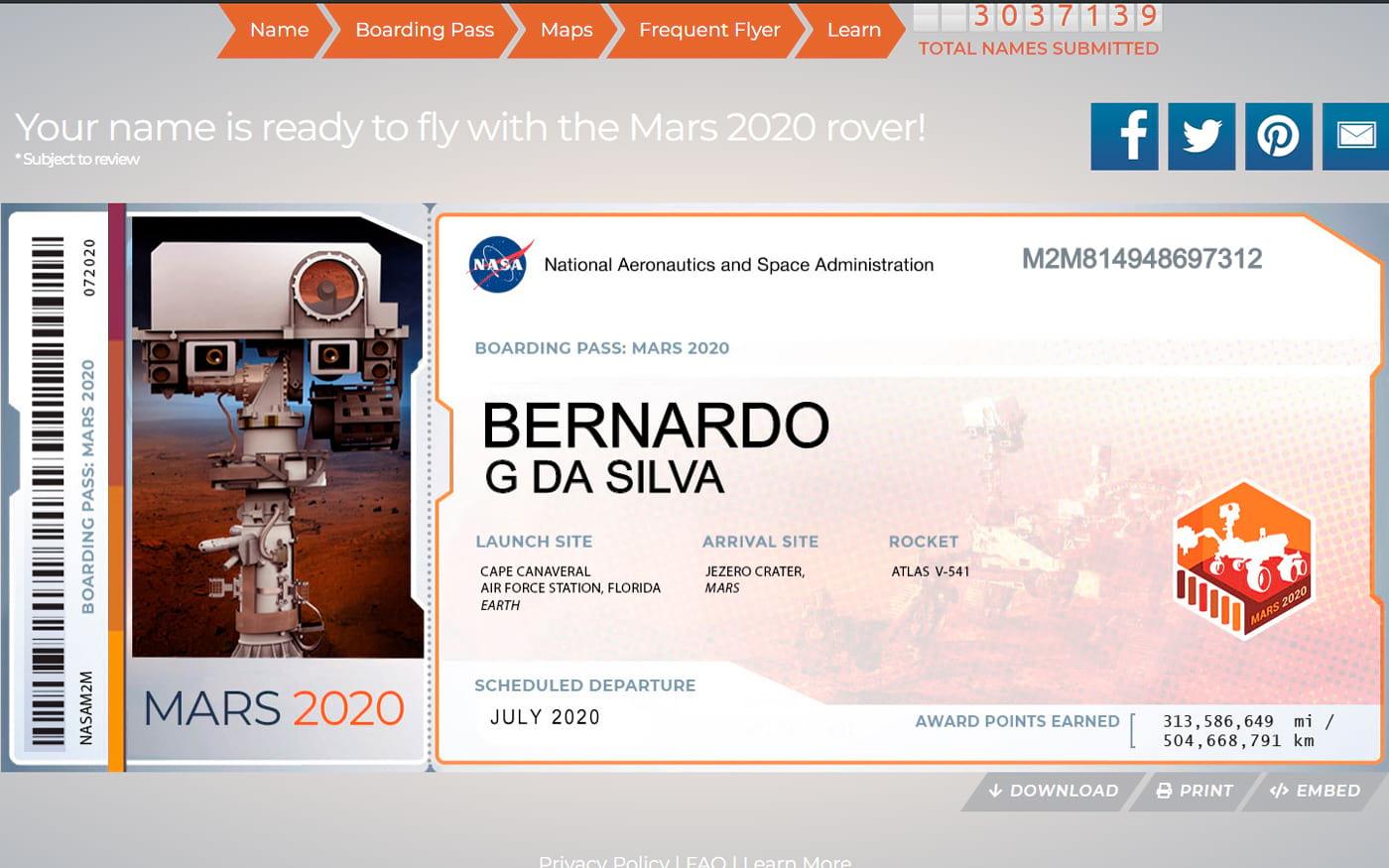Quer saber como enviar seu nome para o espaço? Pergunte a NASA!