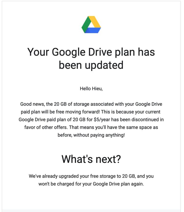 Mensagem que chegou para os usuarios do antigo plano de 20GB