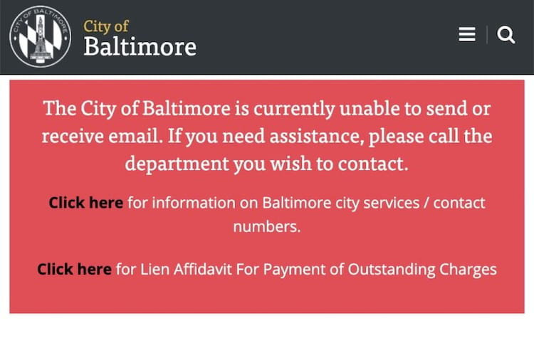 Aviso da prefeitura da Baltimore