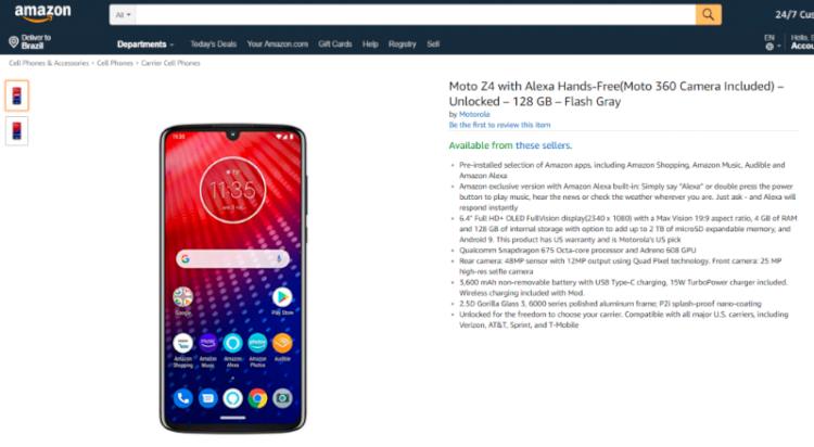 Motorola Z4 ficou disponível para venda na Amazon com todas suas especificações.