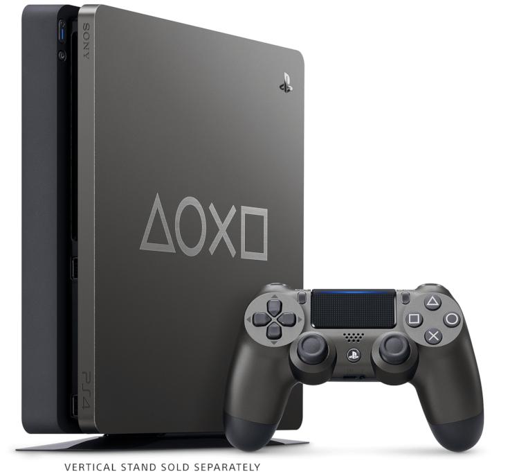 PlayStation 4 Days of Play: Edição Limitada conta com um console em Aço Negro com símbolos do PS gravados em prata em sua superfície, 1TB de armazenamento e um controle sem fio DualShock 4.
