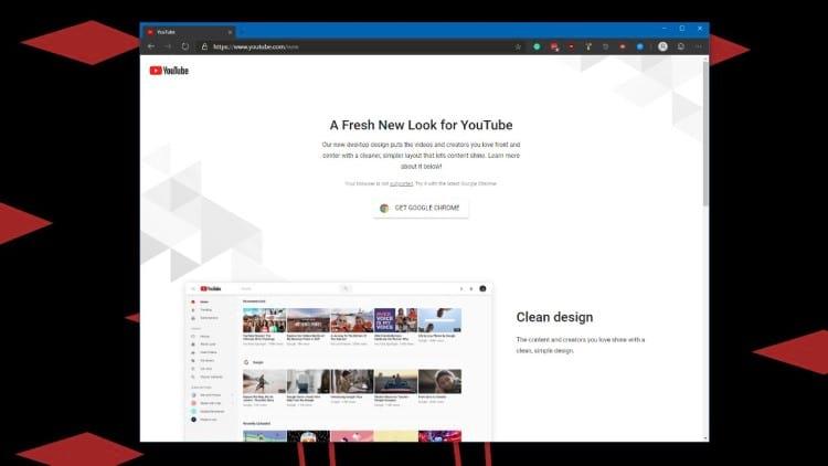 Mensagem pedindo para instalar o navegador Chrome