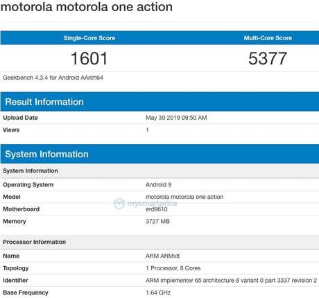 Motorola One Action aparece no Geekbench com pontuação de 1601 no single-core e 5377 no multi-core.