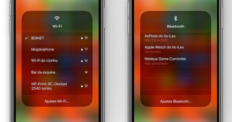 Novo atalho para o Wi-fi e Bluetooth na Central de Controle