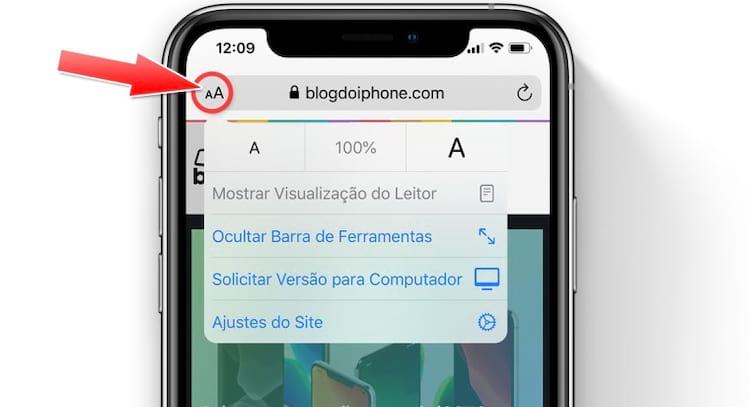 Novo menu de ajustes no navegador Safari