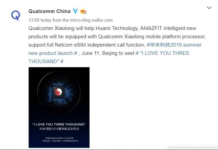 Postagem da Qualcomm no Weibo