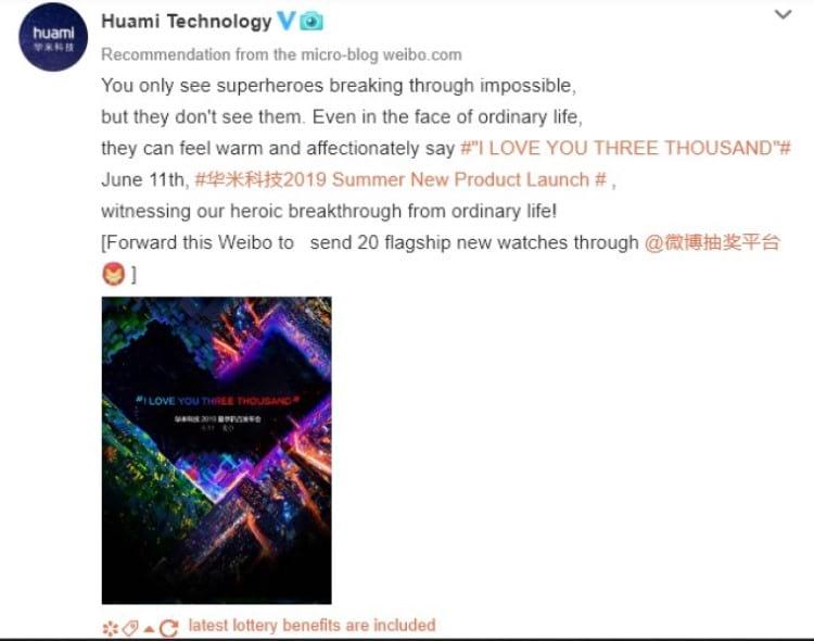 Postagem da Huami no Weibo