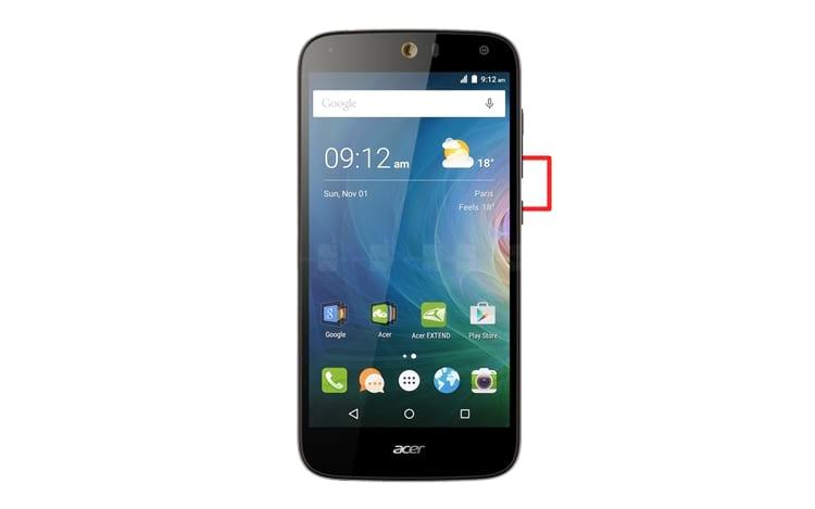 Captura de tela no smartphone Acer