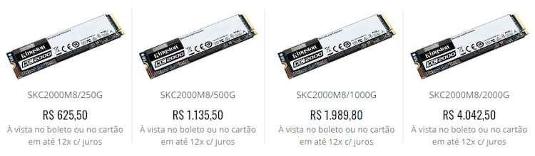 Os preços variam de R$625,50 para 250GB e vai até R$4.042,50 para a unidade de 2TB