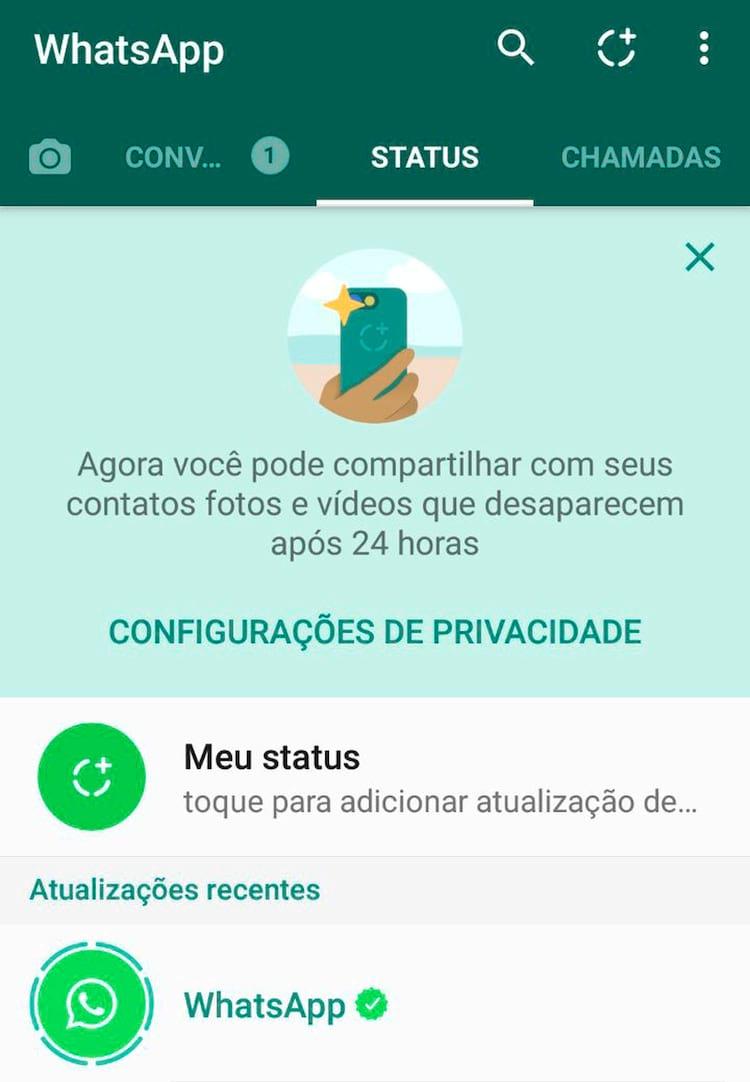 Status do WhatsApp permite ao usuário compartilhar fotos com duração de 24h com contatos.