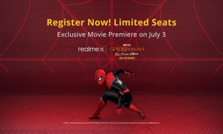 Banner do anuncio para assistir ao novo filme do Spider-man em evento organizado pela Realme