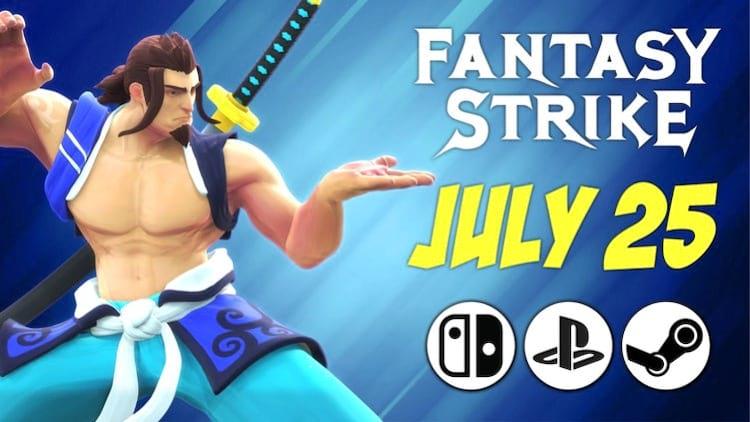 Banner de anuncio de lançamento do game Fantasy Strike