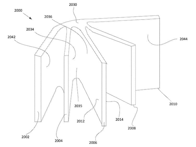 Ainda não está bem explicado se serão 5 painéis dobráveis fixos ou se a imagem na patente só ilustra a ideia de livro