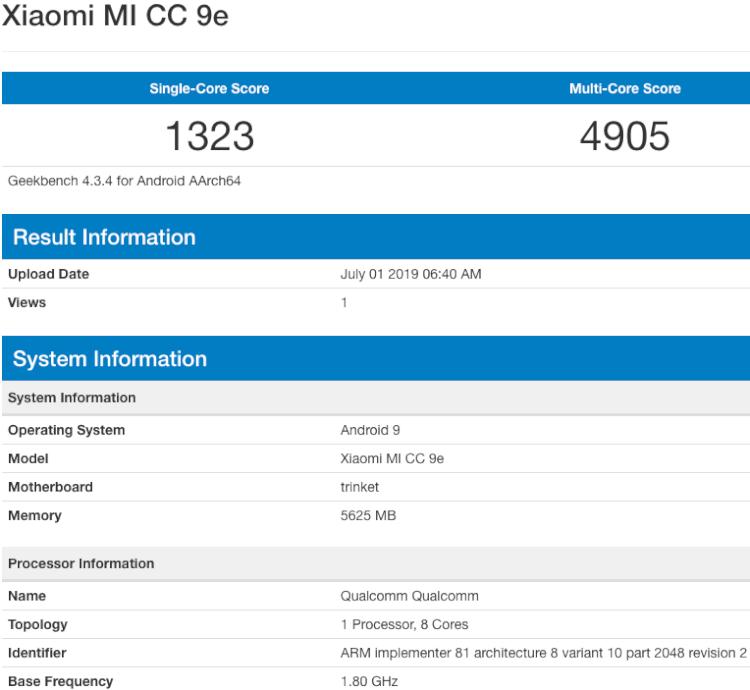 Mi CC9e aparece no Geekbench e tem especificações vazadas.