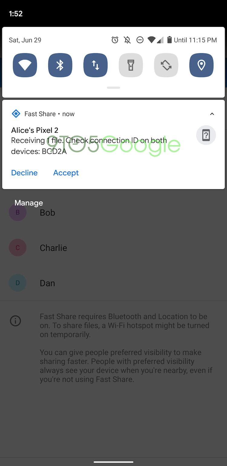 Para receber um arquivo é só clicar em aceitar na notificação.