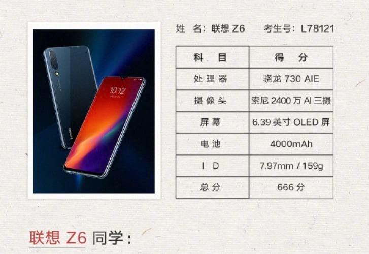 Vice-Presidente da Lenovo publica imagem com especificações técnicas do Z6 em rede social.